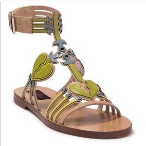Valentino Broken Heart Open Toe Sandals Camel Rose